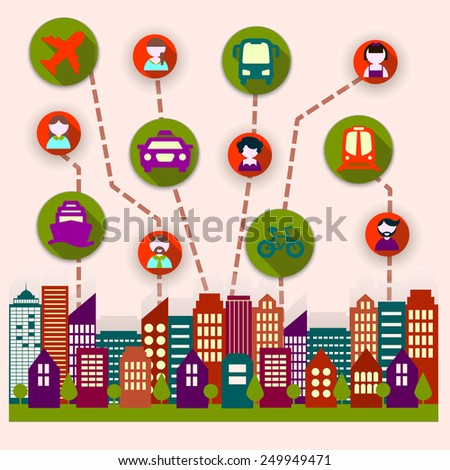social city residents communicate with each other - stock vector