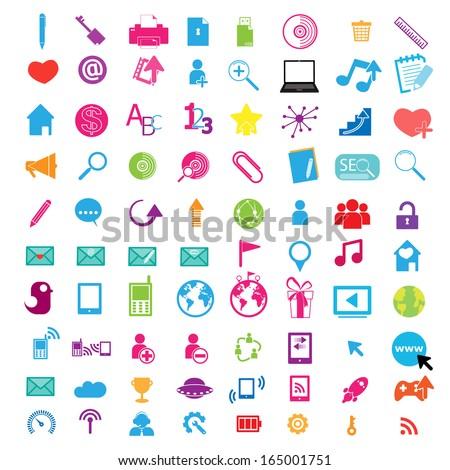 Social color Media Circles Icon, Network Vector  - stock vector