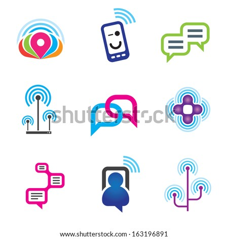 Social communication phone and internet network logo for world connectivity icon set - stock vector
