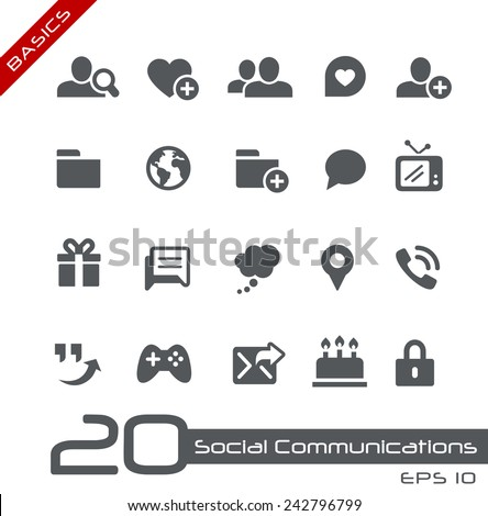 Social Communications Icons // Basics - stock vector