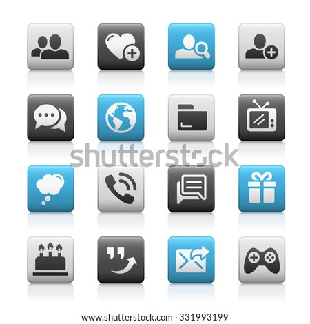 Social Communications Icons // Matte Series - stock vector
