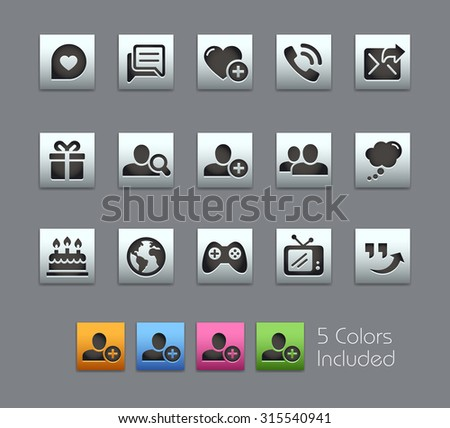 Social Communications Icons  The vector file includes 5 color versions for each icon in different layers ---- - stock vector