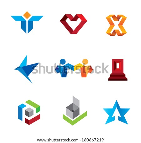 Social community people and creative innovation guru folder logo and icon happiness  - stock vector