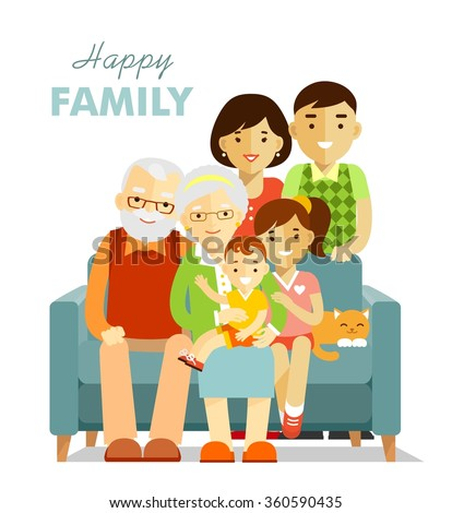 Social concept - happy family three generation together/ Grandfather, grandmother, son, daughter sitting on the sofa, mother and father standing - stock vector