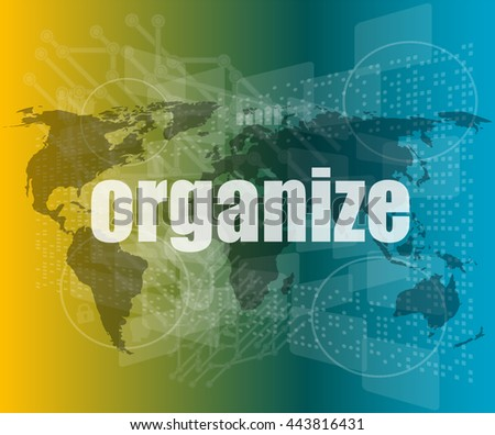 social concept: word organize on digital touch screen background vector quotation marks with thin line speech bubble. concept of citation, info, testimonials, notice, textbox. flat style design - stock vector