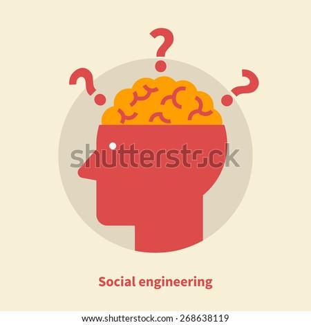 Social engineering - isolated flat vector illustration. - stock vector