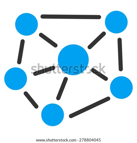 Social graph icon from Business Bi color Set. This isolated flat symbol uses modern corporation light blue and gray colors. - stock vector