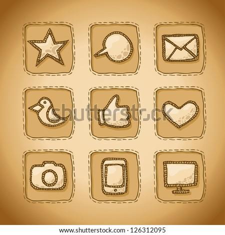 Social Hand Drawn Icons Set - stock vector