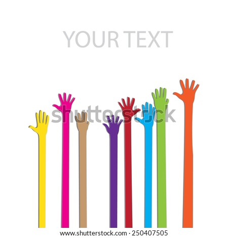 Social hands up vector on the white - stock vector