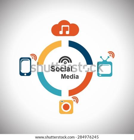 social  icon logo color - stock vector