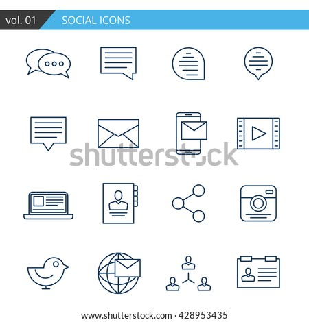 social icon set isolated art object thin line logo collection stock image