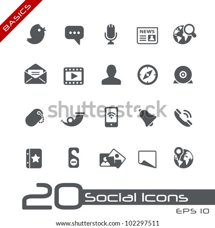 Social Icons // Basics - stock vector