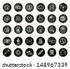 Social icons - black and white chalk design - stock vector