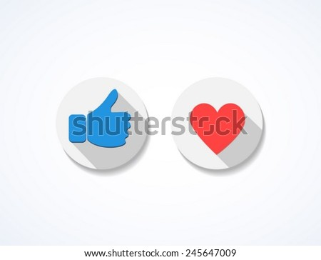 Social icons like and heart - stock vector