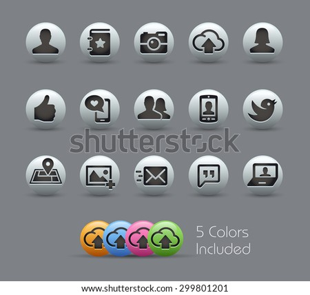 Social Icons // Pearly Series ----- The Vector file includes 5 color versions for each icon in different layers ----- - stock vector