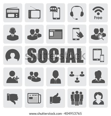 social icons set - stock vector