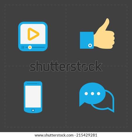 Social icons set on White - stock vector