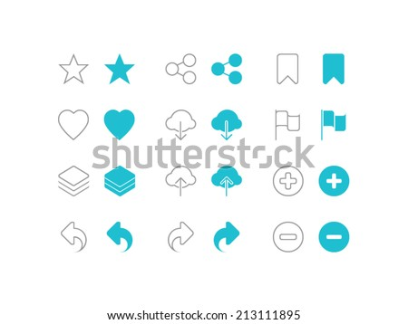 Social icons set. Trendy thin icons for web and mobile. Line and full versions. Normal and enable state - stock vector