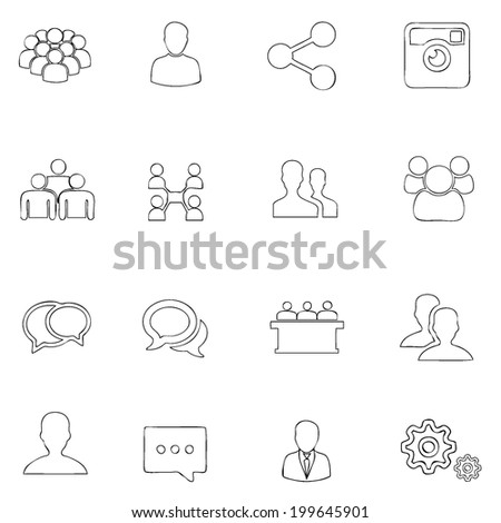 Social icons thin line  drawing by hand Set 2  - stock vector