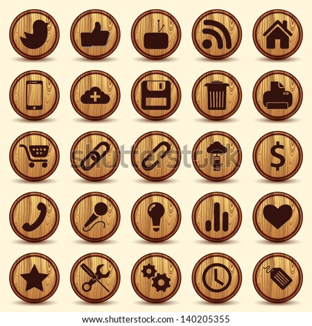 Social Icons, wood texture Buttons Set - stock vector