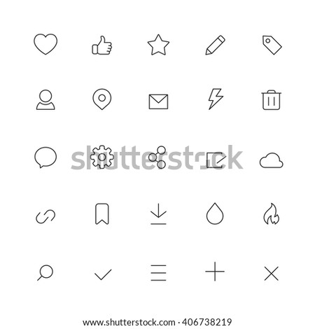 Social Interface Icons - stock vector