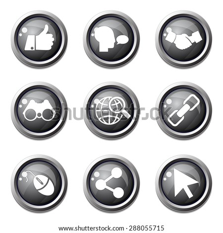 Social Internet Black Vector Button Icon Design Set