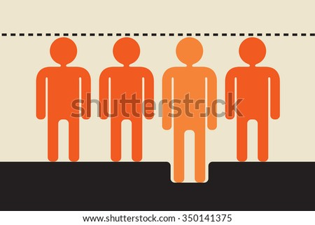 social levelling: suppressing individuality to make everybody appear equal    - stock vector