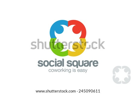Social Logo design vector template. People holding hands Logotype. Co-working network idea. Teamwork community, friendship concept. - stock vector