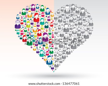 Social love: A heart made of icons to express grief of love people in social media - stock vector