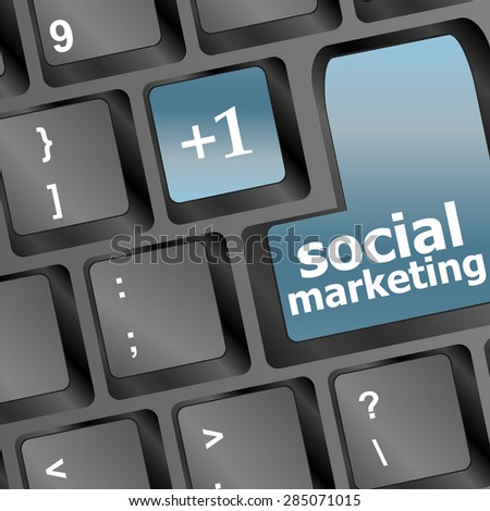 social marketing or internet marketing concepts, with message on enter key of keyboard vector - stock vector