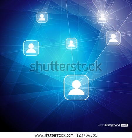 Social Media Abstract Illustration | Communication in the Global Computer Networks | EPS10 Vector Design - stock vector