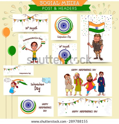 Social media ads, header or banner set with happy people, kids, soldier and other elements for Indian Independence Day celebration. - stock vector