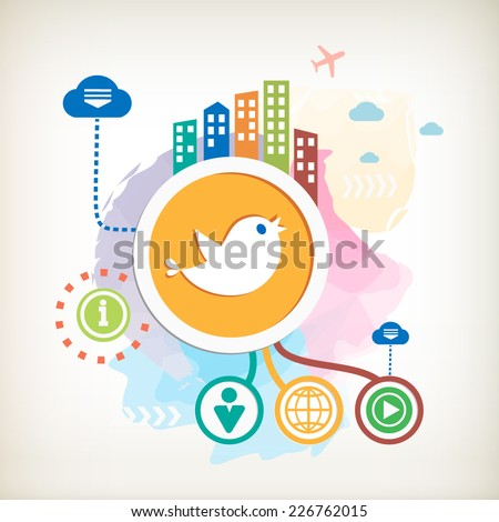 Social media and city mark on abstract colorful watercolor background with different icon and elements. - stock vector