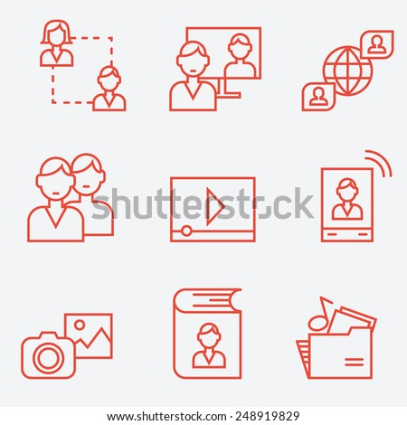 Social media and communication icons, thin line style, flat design - stock vector