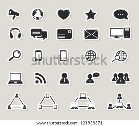social media and computer communication icons set.paper stickers - stock vector