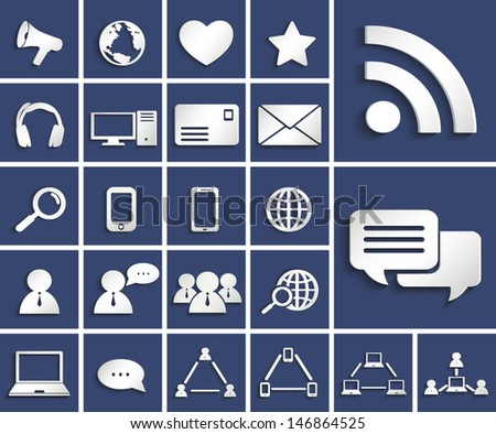 social media and computer communication paper cut icons set - stock vector