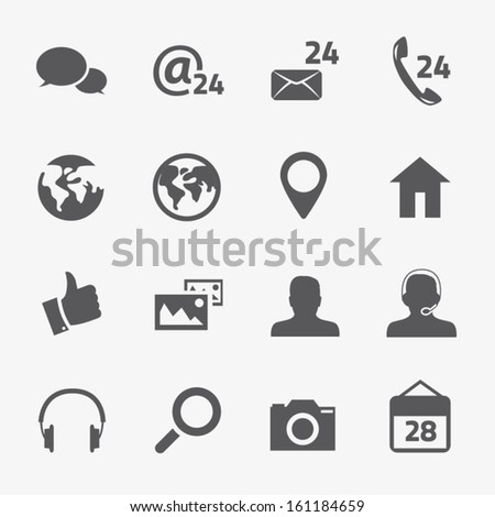 Social media and connection vector icons set - stock vector