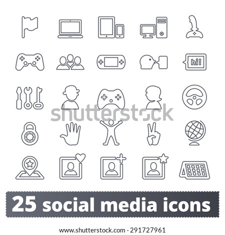 Social media and game icons. People community vector set for social network, application, user interface and web. Outline series. - stock vector