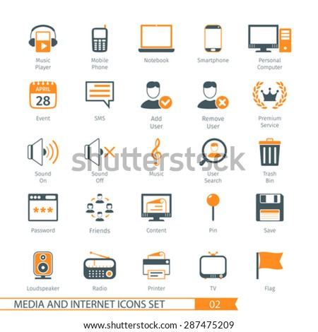 Social Media And Network Icons Set 02 - stock vector