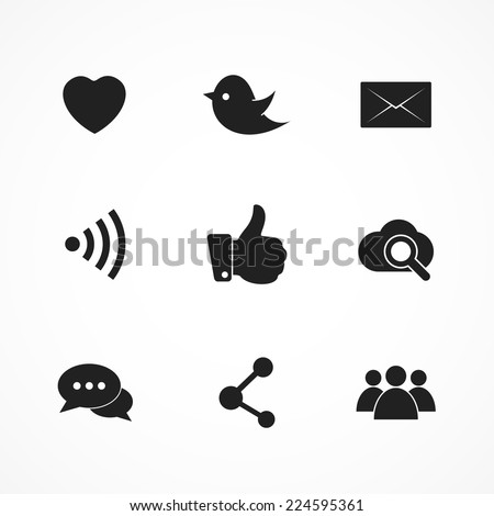 Social media and network icons. Vector set, isolated on white background. EPS 8.