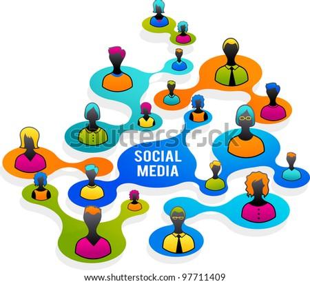 Social Media and network illustration - stock vector
