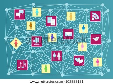 social media and social network concept - stock vector