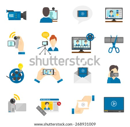 Social media and video blog flat icons set isolated vector illustration - stock vector