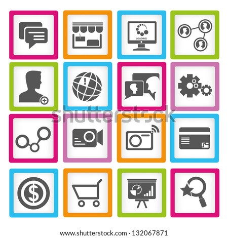 social media and web apps icon set - stock vector