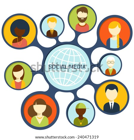 Social media avatar network connection concept. People in a social network. Concept for social network in flat design. Globe with many different people's faces - stock vector