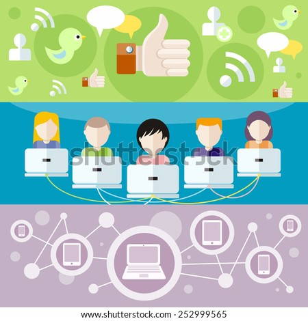 Social media avatar network connection concept. People in a social network. Concept for social network in flat design. Many different peoples faces with laptops - stock vector