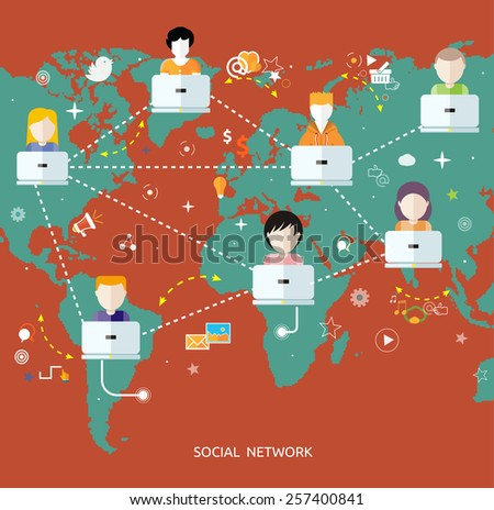 Social media avatar network connection concept. People in a social network. Concept for social network in flat design. Globe with many different peoples faces with laptops - stock vector