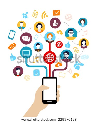 Social Media Background - people connecting through modern technology devices. - stock vector