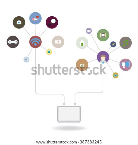 social media background with lines - stock vector