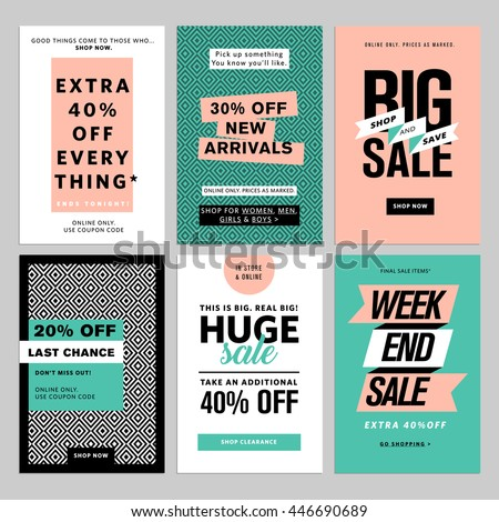 Social media banners pack. Vector illustrations for website and mobile website banners, posters, email and newsletter designs, ads, coupons, promotional material.